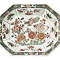 A chinese famille verte octagonal tureen, 18th century.