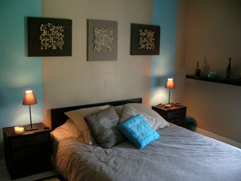 chambre style carabe turquoise et marron