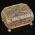 A gem-set and enamelled agate box, india, 19th century