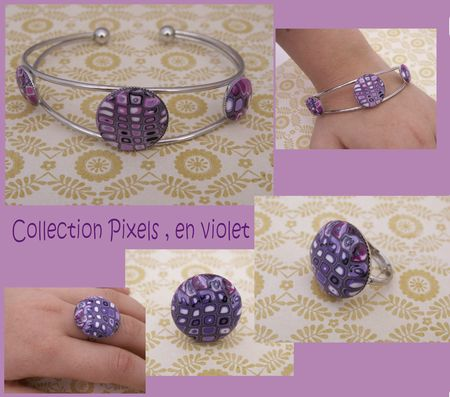Collection pixels bracelet bague