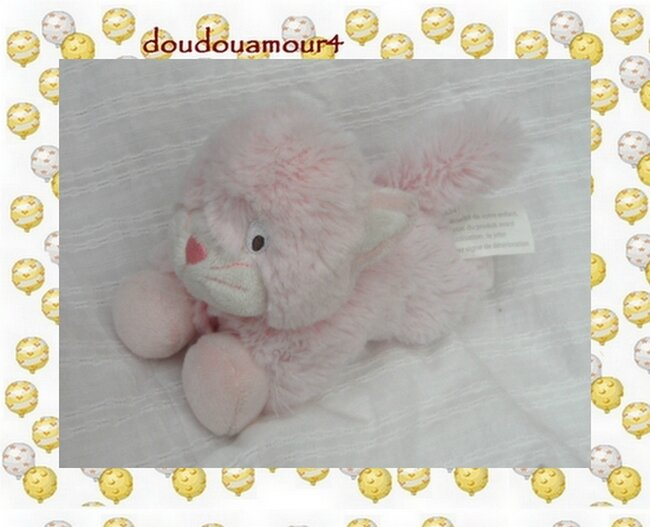 Doudou Peluche Chat Rose Couché Kimbaloo