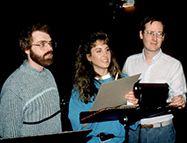 John Musker et Ron Clements accompagnés de Jodi Benson la voix originale d'Ariel