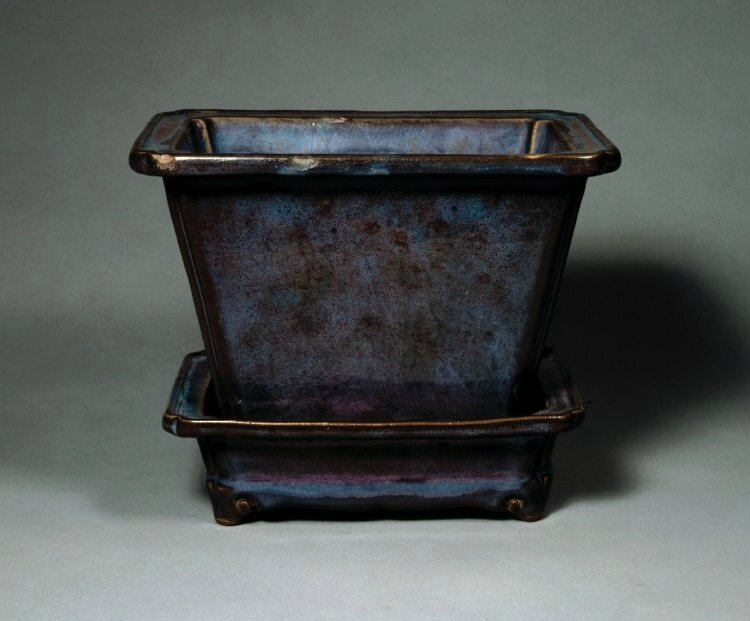 Official Jun ware Rectangular flower pot 'Number 十 shi', Ming dynasty, about AD 1368–1435