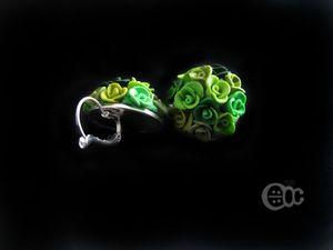 BO demie-boule roses camaïeu vert