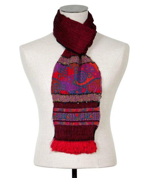 foulard ethnique femme rouge