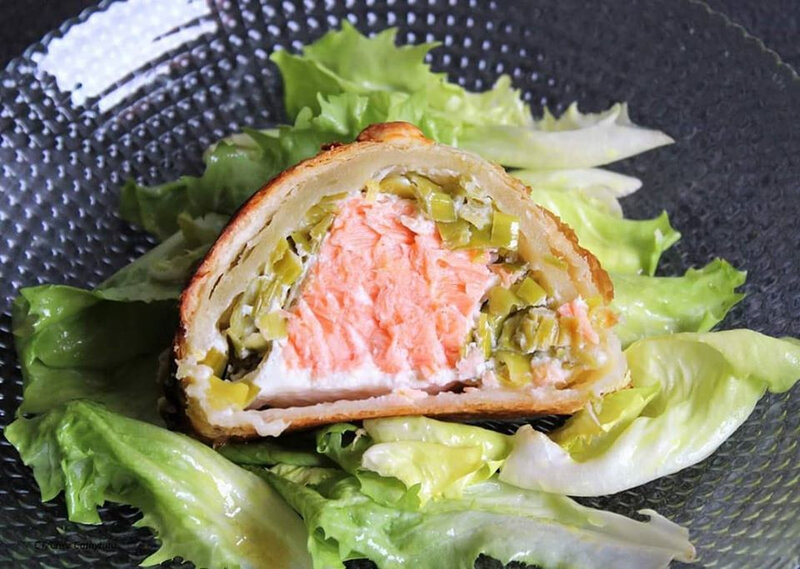 chez cathytutu tresse feuiletee saumon pave poireau ricotta