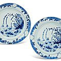 A pair of blue and white 'Duck and Lotus pond' plates, Kangxi six-character marks within a double circle and of the period (1662-1722)