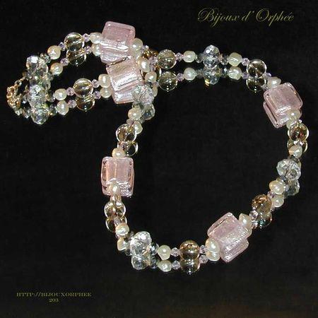 creation bijoux collier fantaisie murano rose