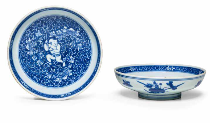 Two blue and white shallow bowls, Kangxi marks and period (1662-1722)