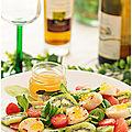 Salade de mâche aux noix st jacques, tomates, kiwis et pamplemousse