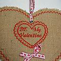 coeur en toile de jute st valentin