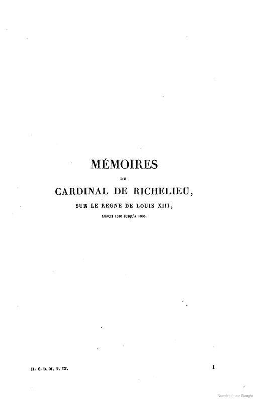 Mémoires pour servir à l'Histoire de France depuis le XIIIème siècle jusqu'à la fin du XVIIIème - Mémoires du Cardinal de Richelieu