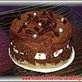 Génoise au rhum/Croustillant praliné/Mousse chocolat et meringu