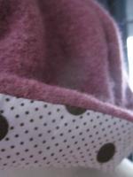 Chapeau Agathe en laine bouillie vieux rose avec fleur - doublure de coton rose pâle à pois chocolat - taille 58 (1)