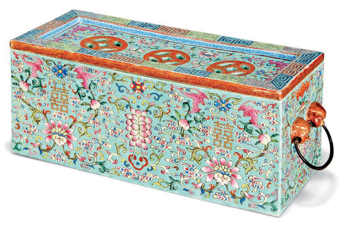 Afamille Roseturquoise-ground rectangular parfumier and cover, 19th century