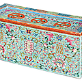 A famille Rose turquoise-ground rectangular parfumier and cover, 19th century