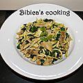 Wok de poulet-épinards-coco et udon