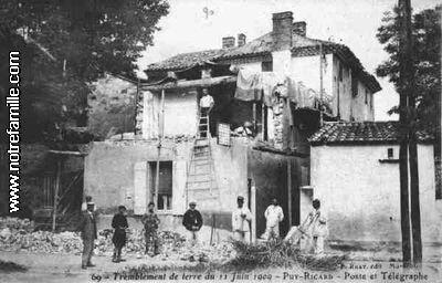 PUYRICARD tremblement terre 1909