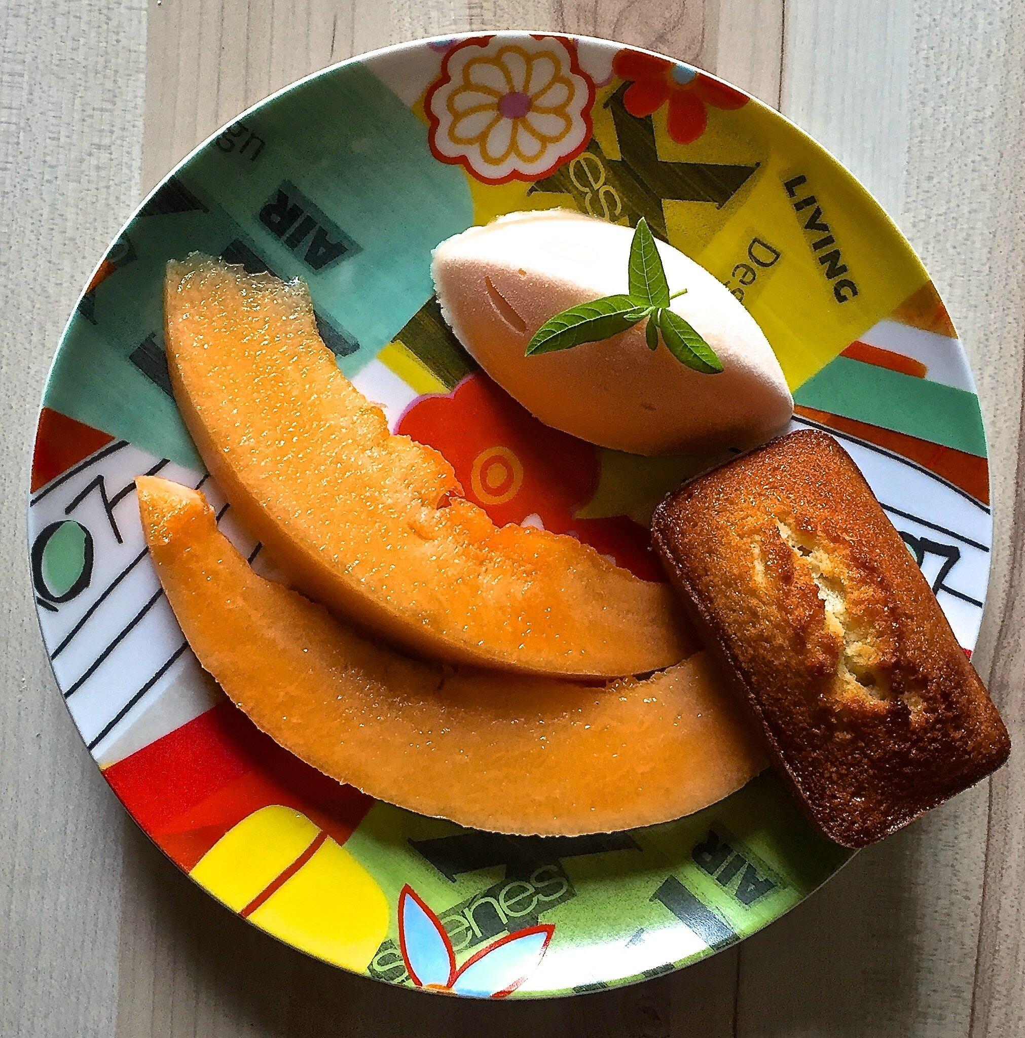 melon, sorbet melon, financiers extra-moelleux
