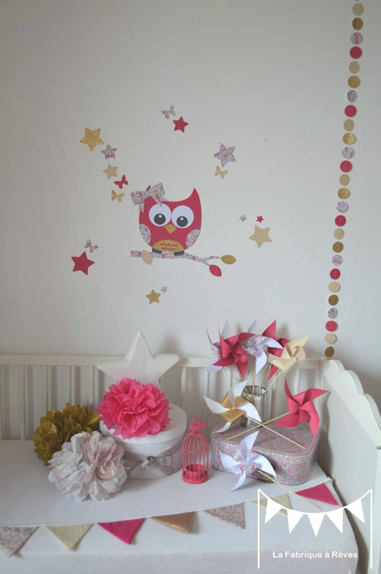 décoration chambre enfant bébé fille liberty éloise rose fuchsia doré beige mariage baptême anniversaire 2