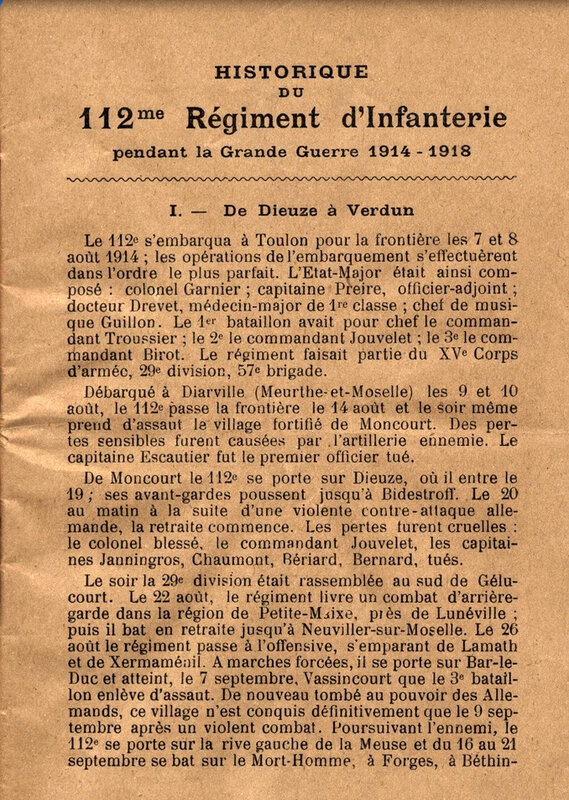 Historique 112e RI, première page