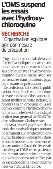 2020 05 26 SO LOMS suspend les essais avec l'hydroxychloroquine