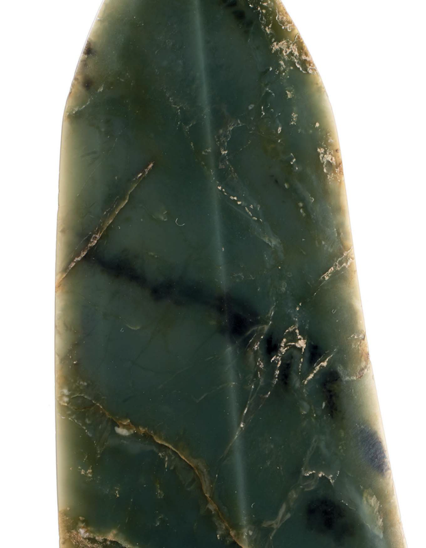 A rare large bluish olive-green jadegedagger-axe, China, Late Shang dynasty, 11th century BC 3