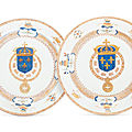 A massive pair of french royal armorial dishes, yongzheng period, circa 1730