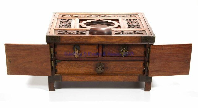 Chinese carved wooden vanity box and bronze mirror, probably mid 20th century