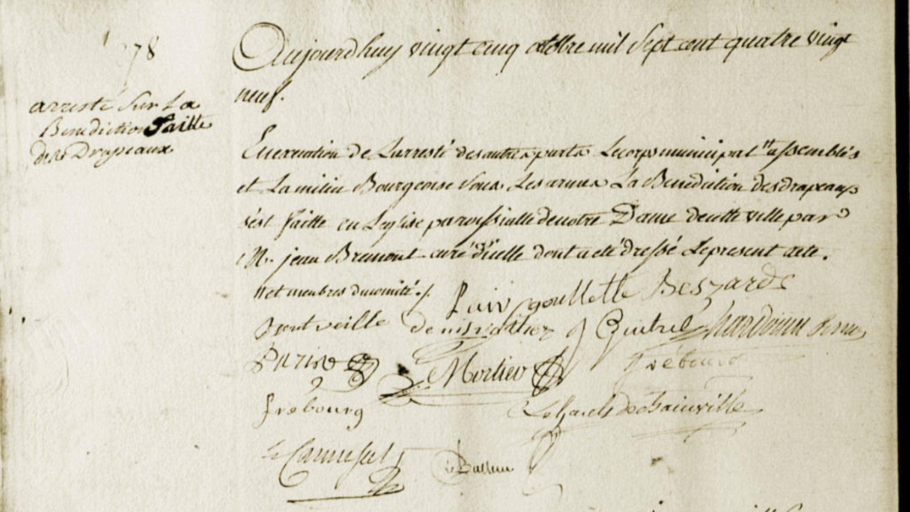 Le 25 octobre 1789 à Mamers : bénédiction des drapeaux.