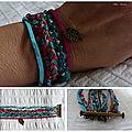 Bracelets manchette rose et bleu