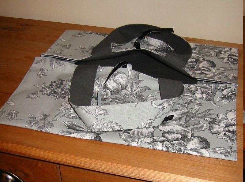 sac à tarte toile de jouy grise