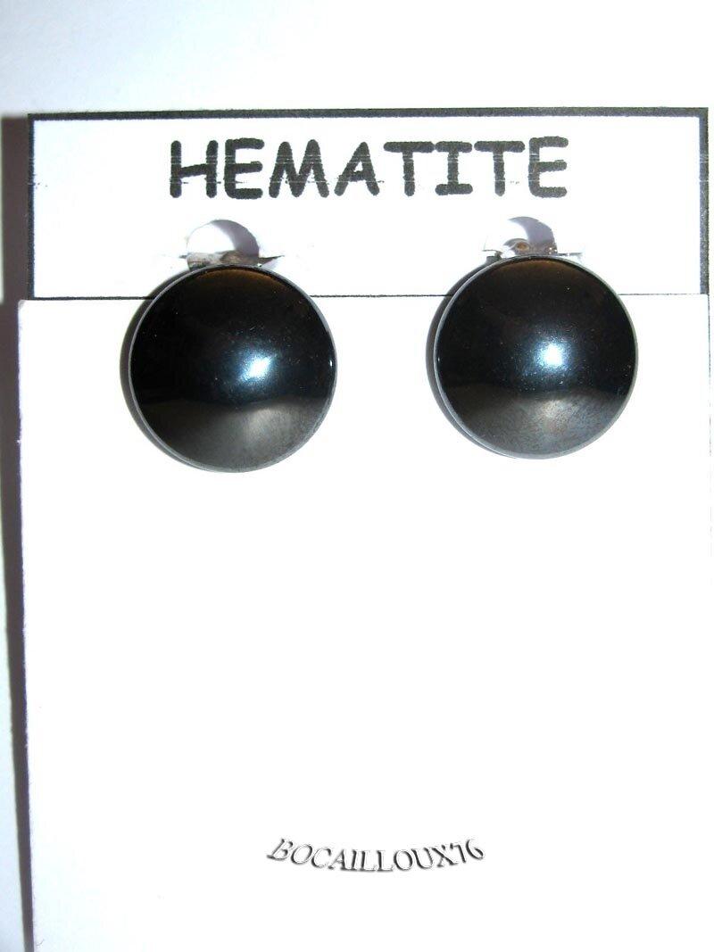 BOUCLE OREILLE HEMATITE 4 - CABOCHON 16mm SUR CLIPS.