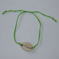 Bracelet 'Coquillage, lien tressé vert fluo'