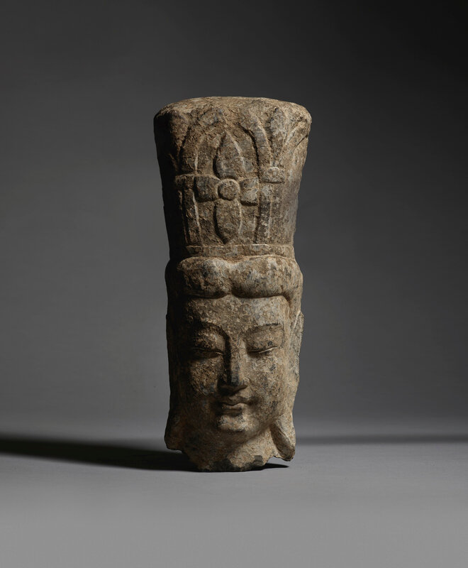 A rare limestone relief fragmentary head of a Bodhisattva, Northern Wei dynasty (386-534)