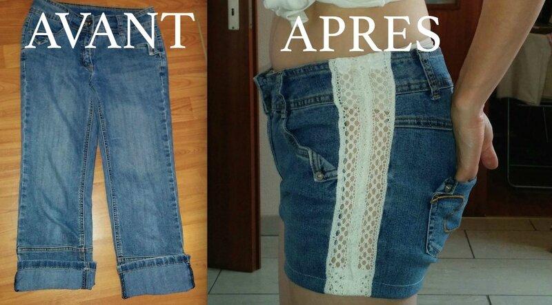 Avant après short jean dentelle - copie