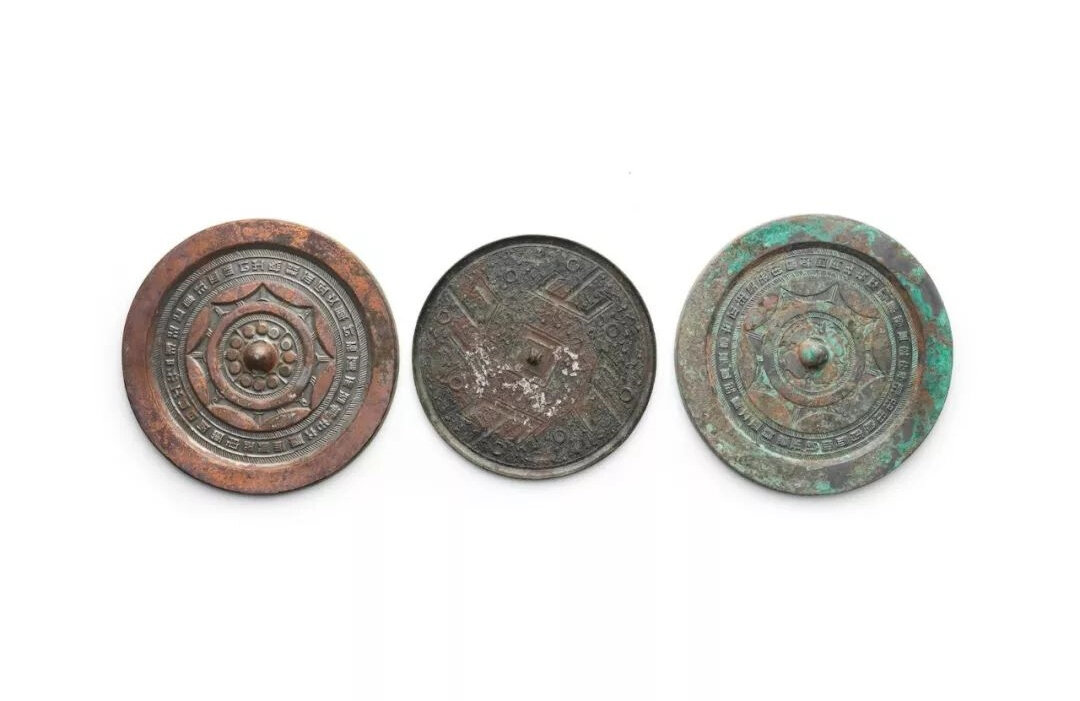 Three archaic bronze mirrors, Warring States period, Western Han dynasty and Han dynasty or later