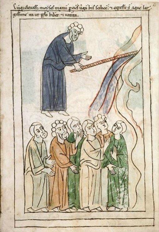 Moïse frappe le rocher, Enluminure médiévale