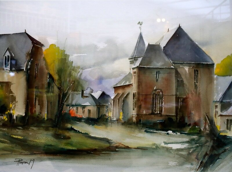 ANY-MARTIN-RIEUX VILLAGE AQUARELLE 2014 oeuvre