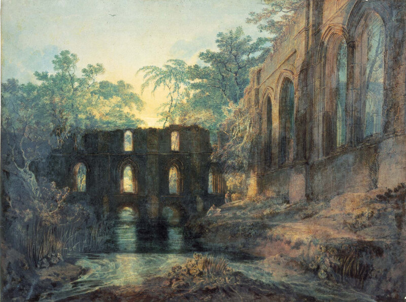 JMW-Turner-'The-Dormitory-and-Transept-of-Fountains-Abbey-Evening'-exhibited-1798-watercolour-York-Art-Gallery-large