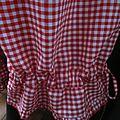 Panty en coton vichy rouge et blanc - taille élastique - lien de serrage au bas (6)