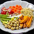 Buddha bowl végétarien, sauce au sésame