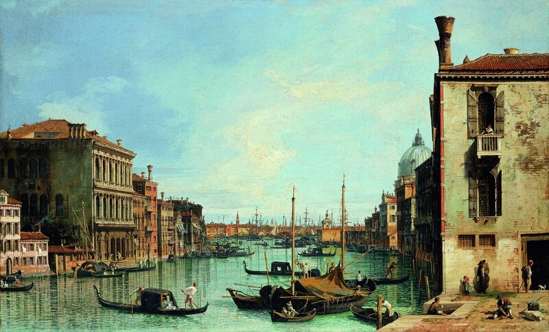 "Giovanni Antonio Canal, called ""Canaletto"" (Italian, 1697-1768), The Grand Canal of Venice From the Campo di San Vio, c"
