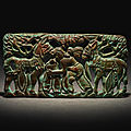 A very rare archaic bronze 'figural' plaque, 2nd century bc