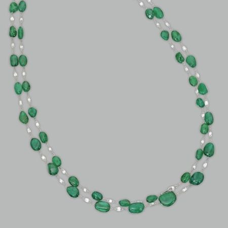 Platinum__Emerald_and_Diamond_Longchain_Necklace