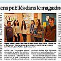 Collège corot : des élèves publiés dans