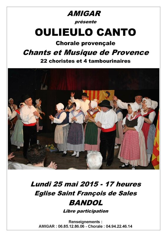AFFICHE SPECTACLE OULIEULO CANTO AMIGAR 25 MAI 2015