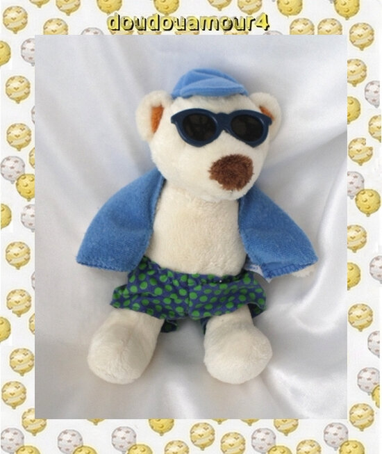 Doudou Peluche Ours Blanc Short Bleu Pois Vert Lunettes Bleu Gipsy