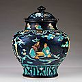 An important Fahua baluster jar and cover, Ming Dynasty, late 15th-early 16th century
