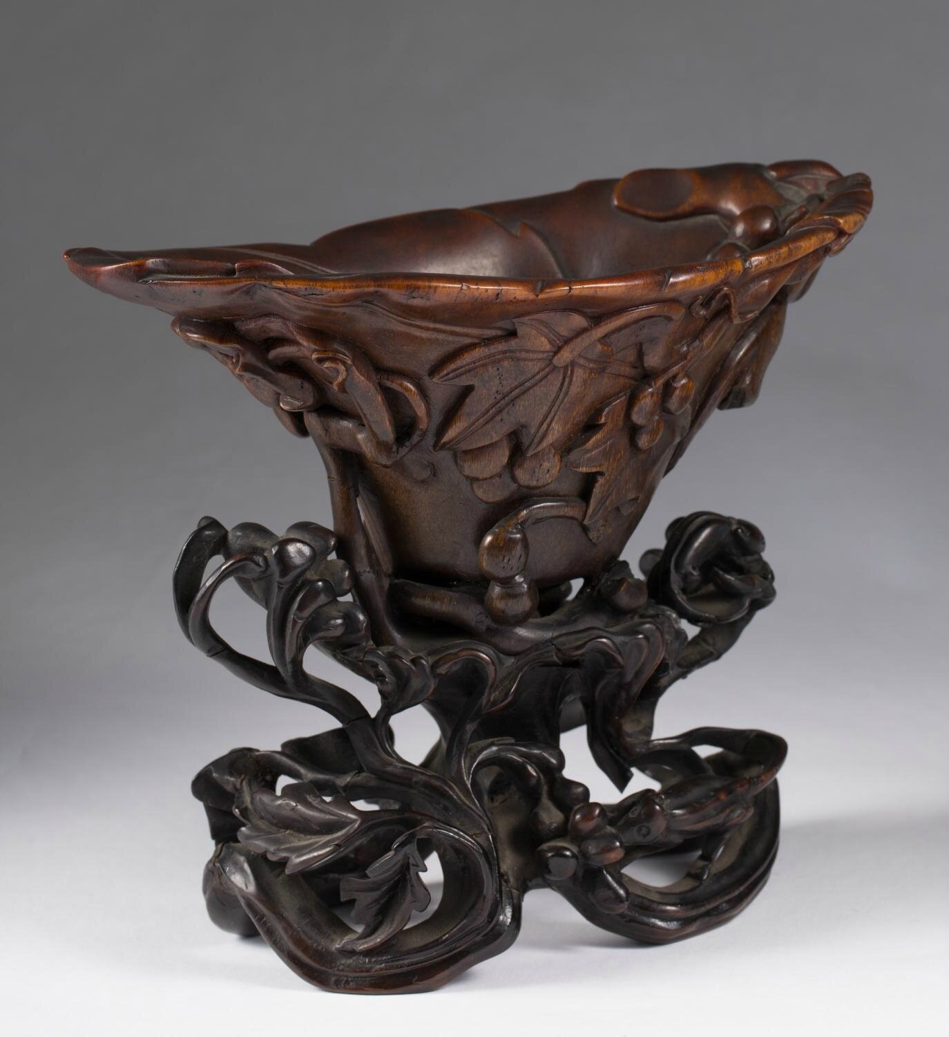 Chinese Rhinoceros Horn Grapevine Libation Cup, 17th Century